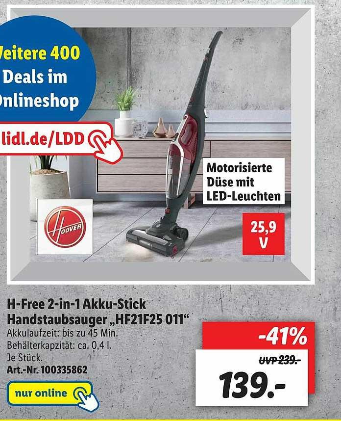 "Lidl H-free 2-in-1 Akku-stick Handstaubsauger ""hf21f25 011"""