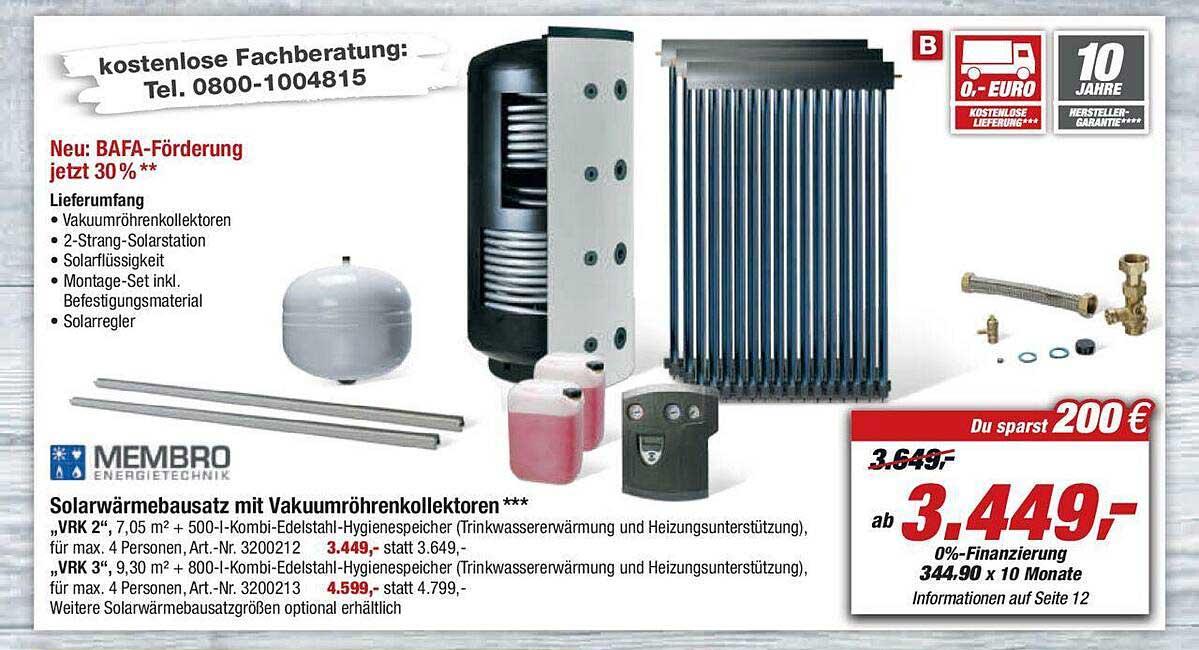 Toom Baumarkt Membro Solarwärmebausatz Mit Vakuumröhrenkollektoren