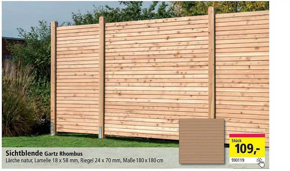 Holz Possling Sichtblende Gartz Rhombus