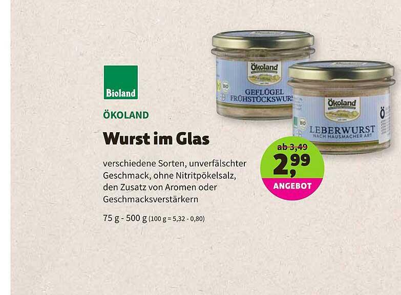 BioMarkt Bioland ökoland Wurst Im Glas