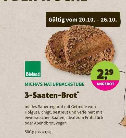 Denns Biomarkt Micha's Naturbackstube 3-saaten-brot