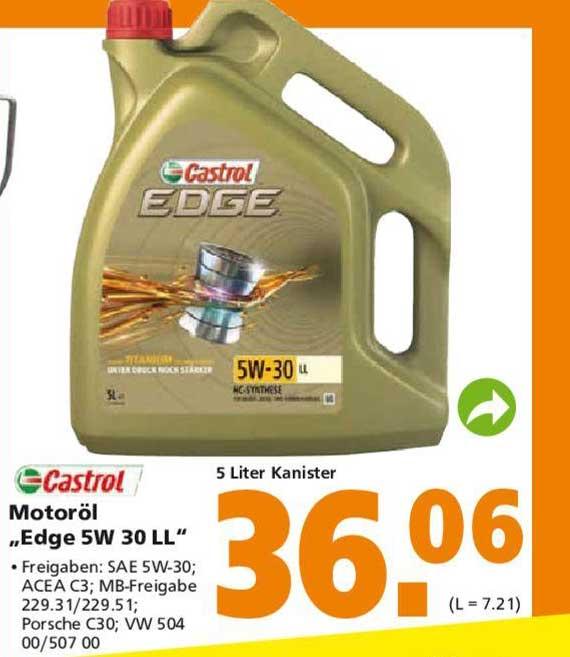 "Globus Baumarkt Castrol Motoröl ""edge 5W 30 LL"""