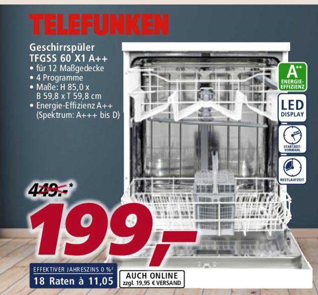 Real Telefunken Geschirrspüler TFGSS 60 X1 A++