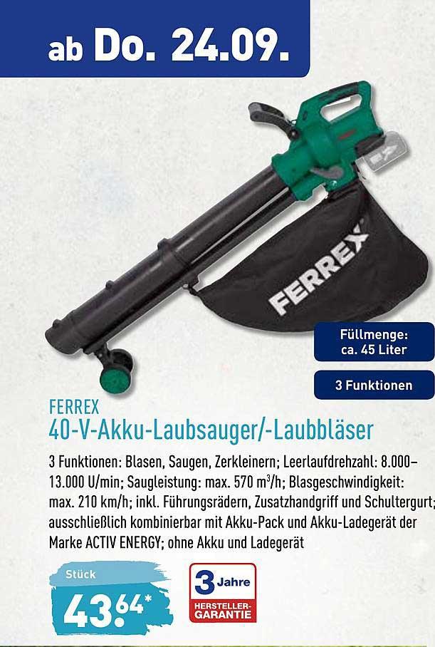 ALDI Nord Ferrex 40 V Akku Laubsauger Laubbläser