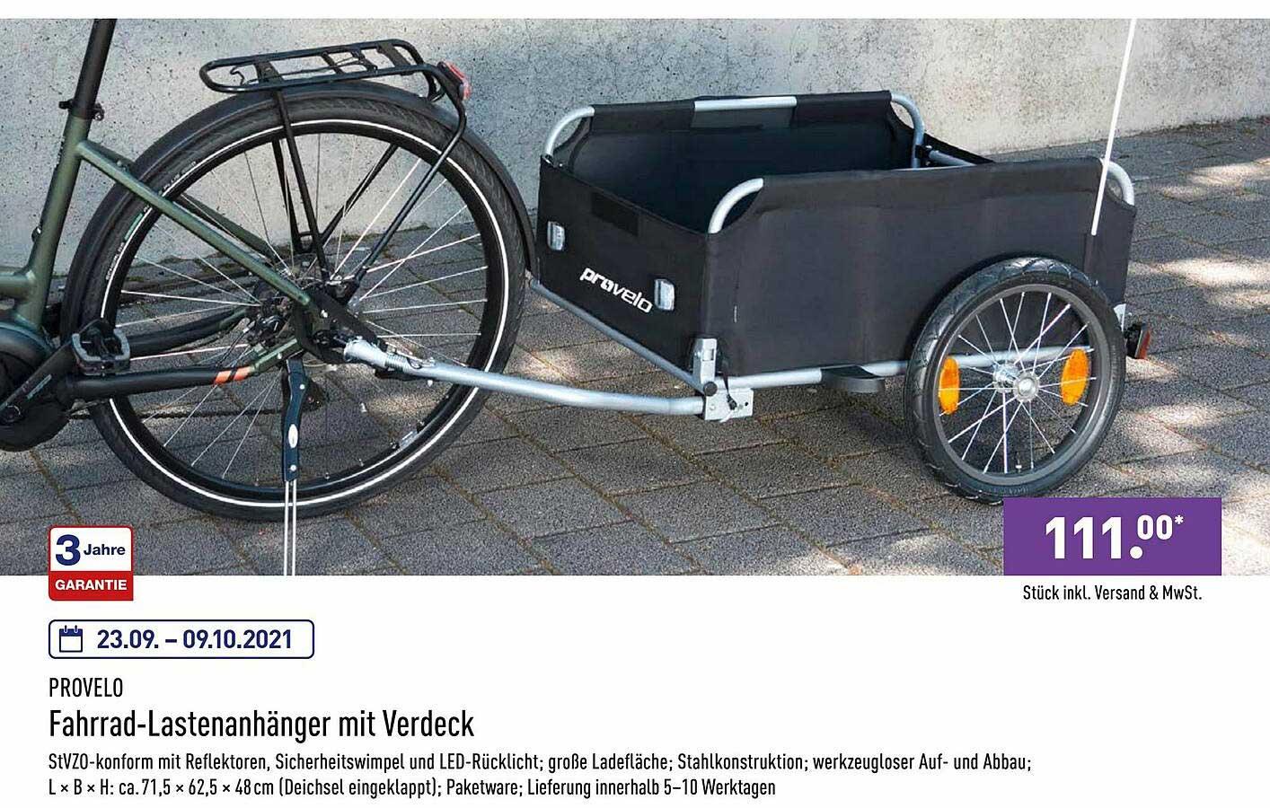 ALDI Nord Provelo Fahrrad-lastenanhänger Mit Verdeck