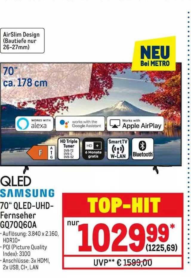 "METRO Qled Samsung 70"" Qled Uhd Fernseher GQ70Q60A"