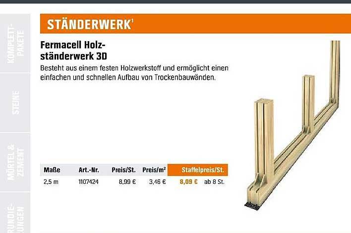 OBI Fermacell Holz Ständerwerk 3d
