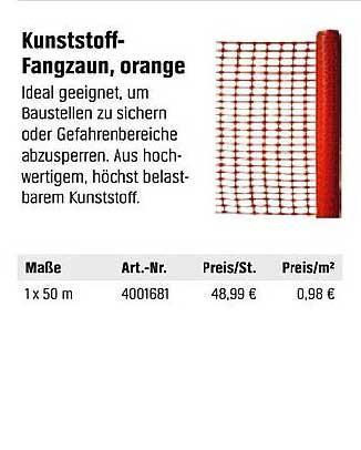 OBI Kunststoff Fangzaun, Orange