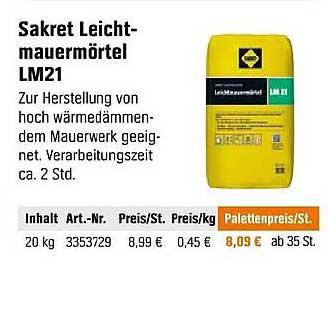 OBI Sakret Leicht Mauermörtel LM21