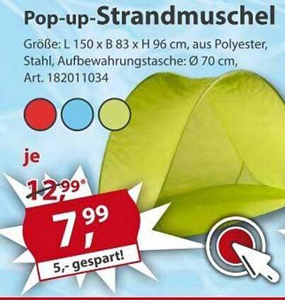 Sonderpreis Baumarkt Pop-up-strandmuschel