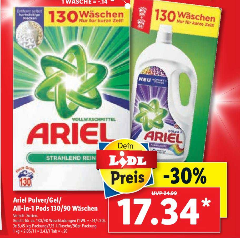 Lidl Ariel Pulver-gel All-in-1 Pods 130-90 Wäschen