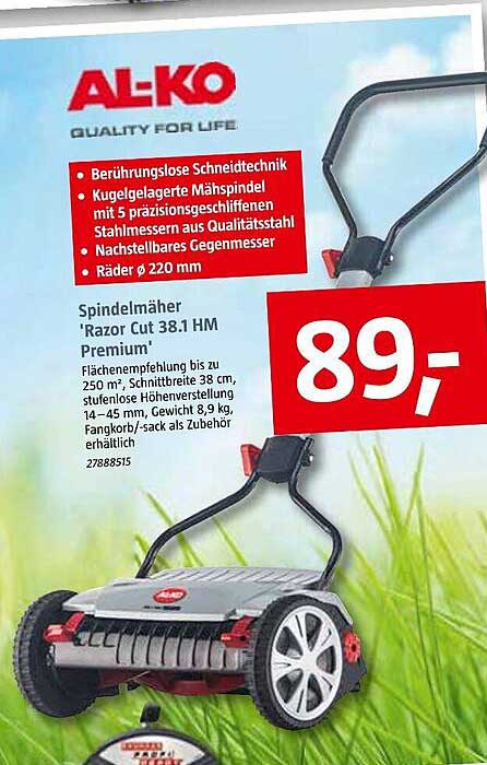 "Bauhaus Al-ko Spindelmäher ""razor Cut 38.1 Hm Premium"""