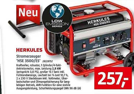 Bauhaus Herkules Stromerzeuger 'hse 3500.e5'