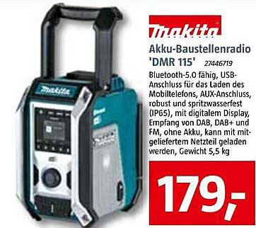 Bauhaus Makita Akku-baustellenradio 'dmr 115'
