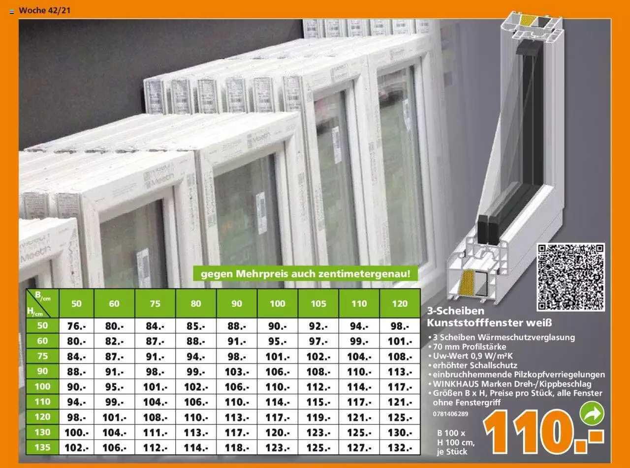 Globus Baumarkt 3-scheiben Kunststofffenster Weiß