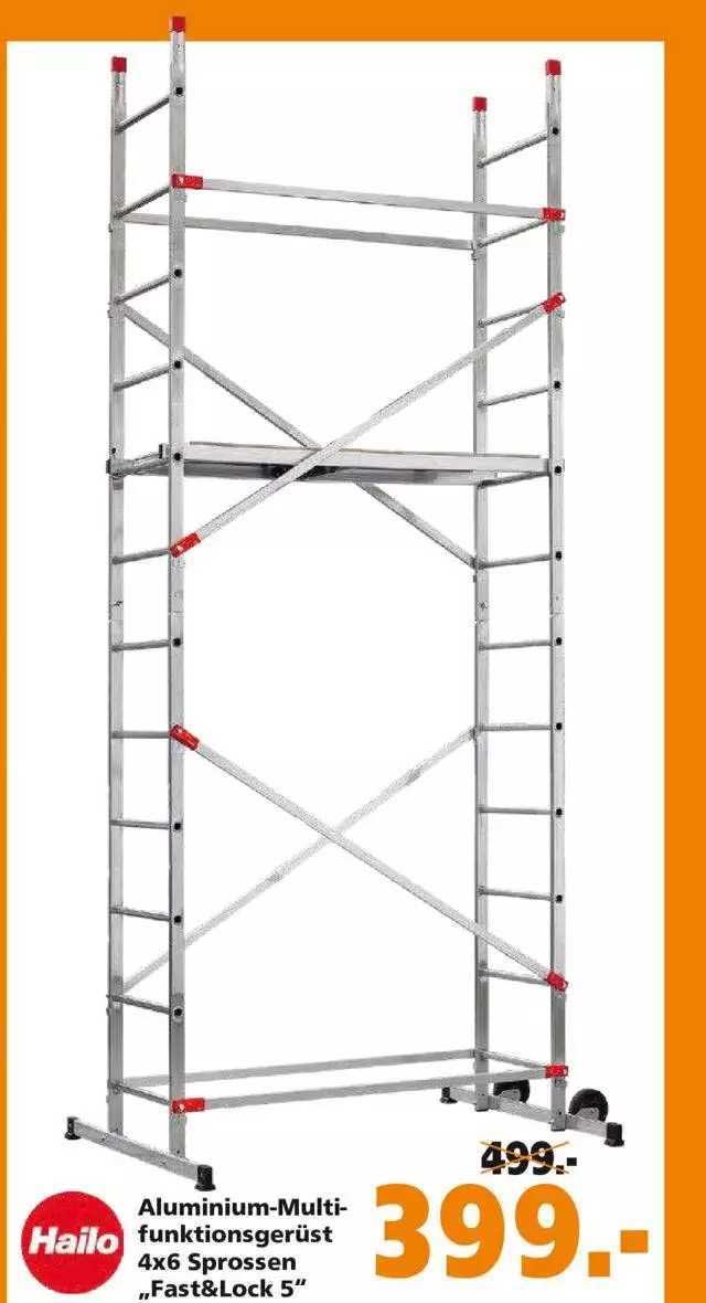 "Globus Baumarkt Hailo Aluminium-multifunktionsgerüst 4x6 Sprossen ""fast&lock 5"""