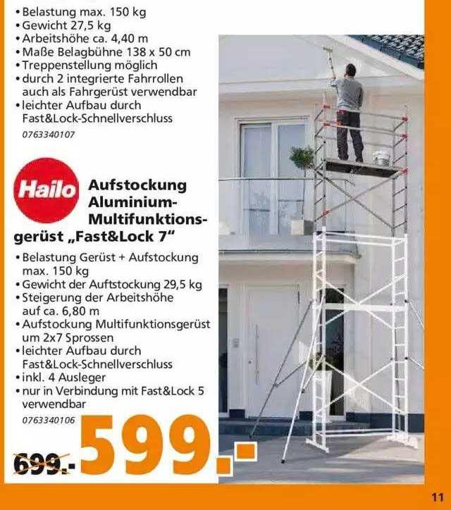"Globus Baumarkt Hailo Aufstockung Aluminium-multifunktionsgerüst ""fast & Lock 7"""