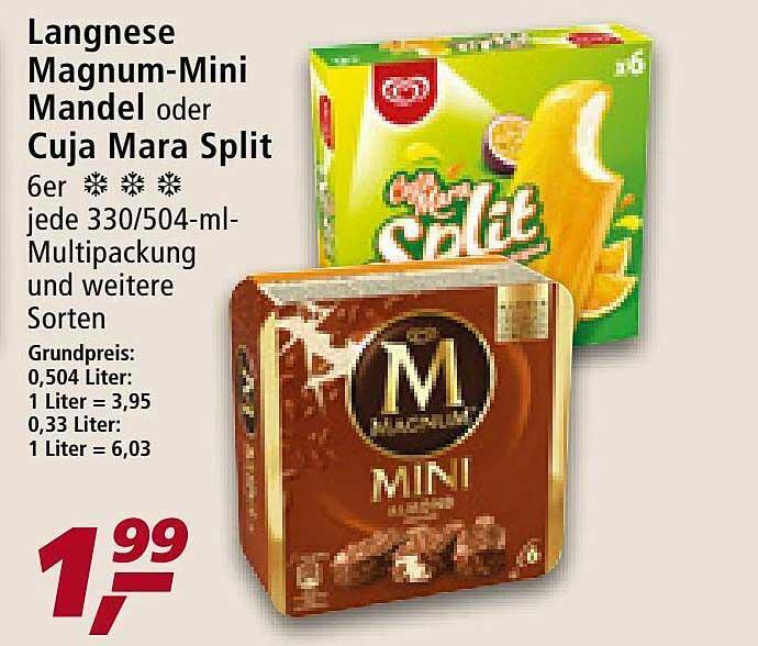 Real Langnese Magnum-mini Mandel Oder Cuja Mara Split