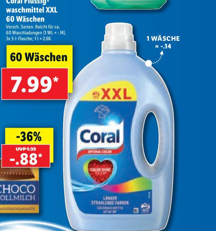 Lidl Coral Flussig Waschmittel XXL