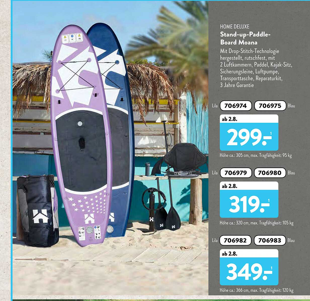 ALDI SÜD Home Deluxe Stand-up-paddle-board Moana