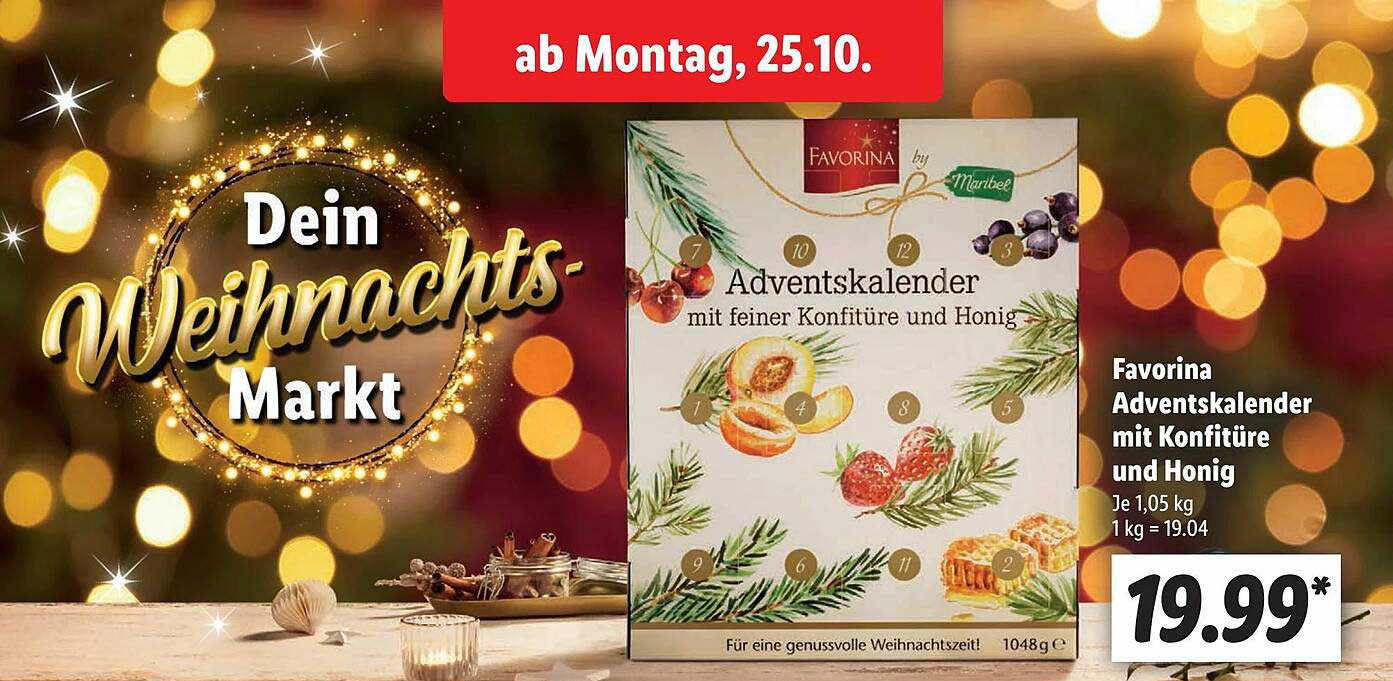 Lidl Favorina Adventskalender Mit Konfitüre Und Honig