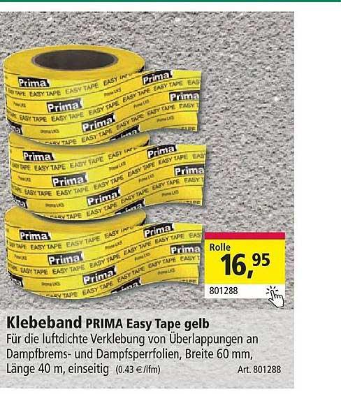 Holz Possling Klebeband Prima Easy Tape Gelb
