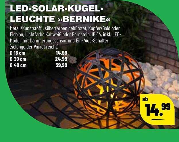 "Leitermann Baumarkt Led-solar-kugel-leuchte ""bernike"""