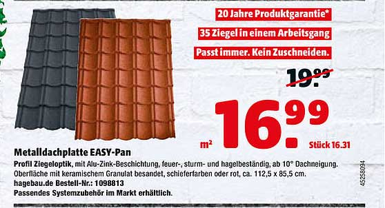 Hagebaumarkt Metalldachplatte Easy-pan