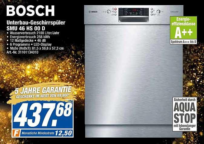 Expert Techno Land Bosch Unterbau-geschirrspüler Smu46hs00d