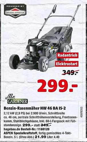 Hagebaumarkt Mr. Gardener Benzin-rasenmäher Hw 46 Ba Is-2