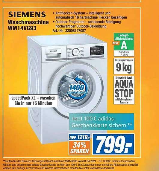 Expert Technomarkt Siemens Waschmaschine WM14VG93