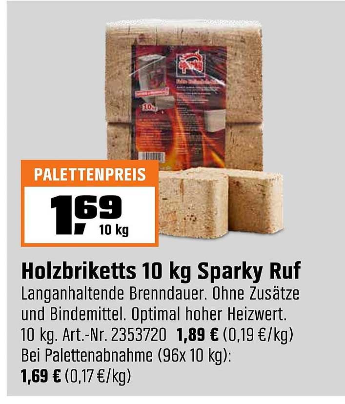 OBI Holzbriketts 10 Kg Sparky Ruf