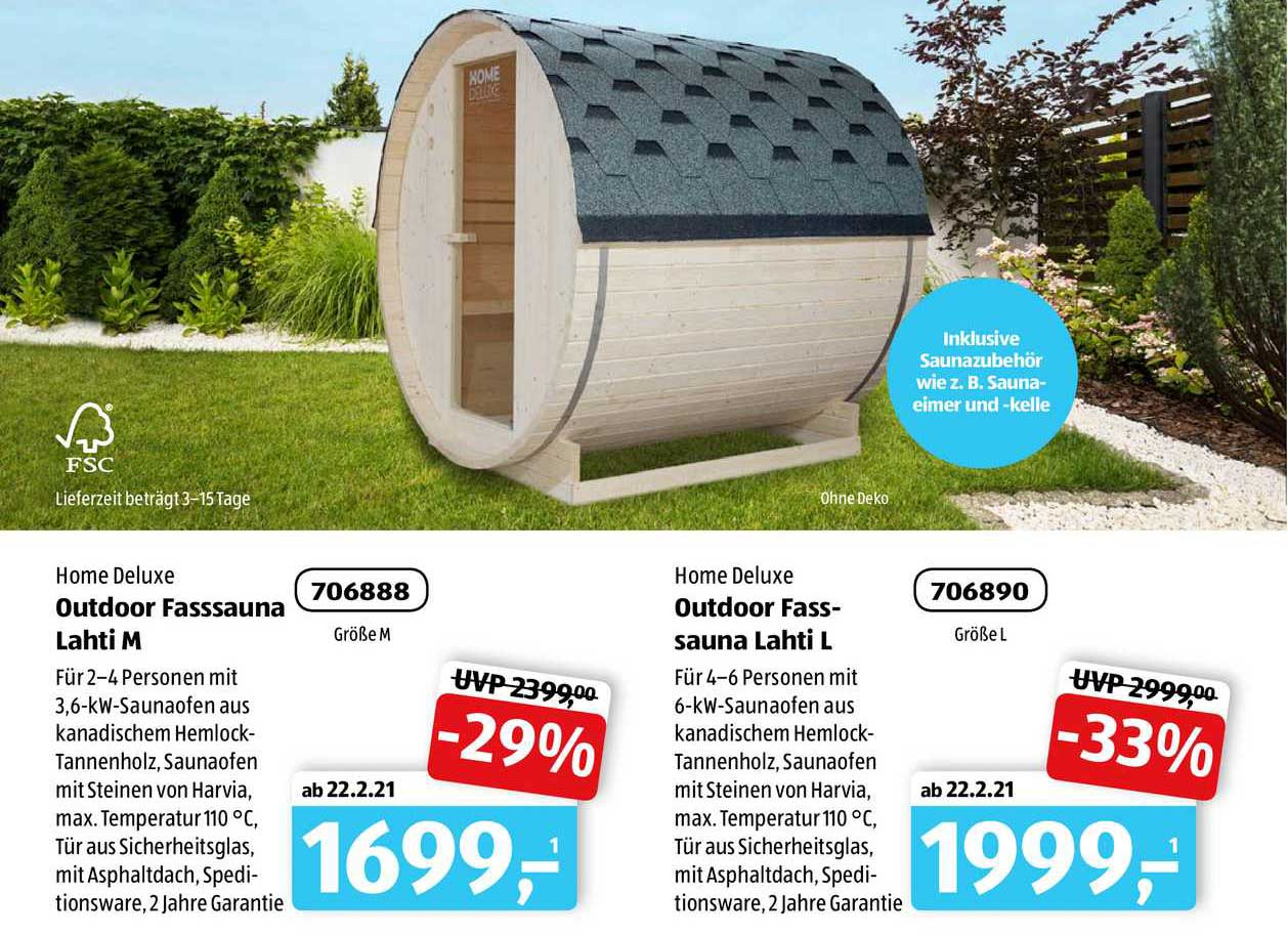 ALDI SÜD Home Deluxe Outdoor Fasssauna Lahti M