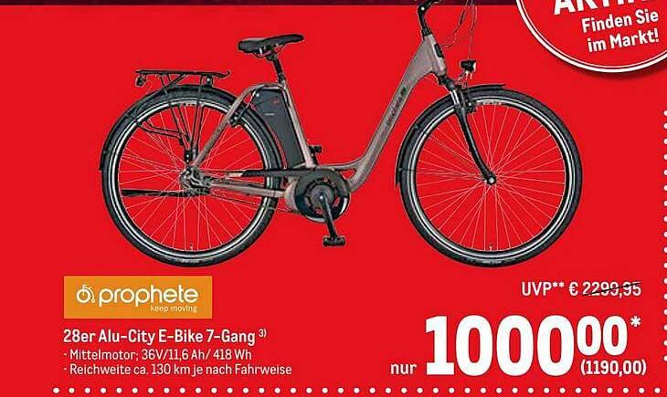 METRO 28er Alu-city E-bike 7-gang Prophete