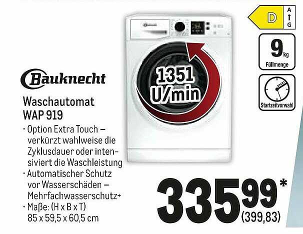 METRO Bauknecht Waschautomat Wp 919
