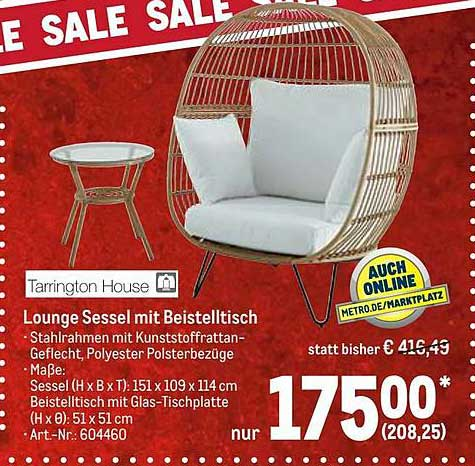 METRO Lounge Sessel Mit Beistelltisch Tarrington House