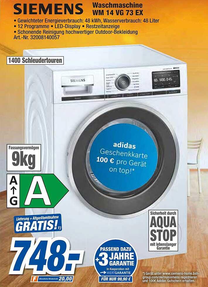Expert Techno Land Siemens Waschmachine Wm 14 Vg 73 Ex