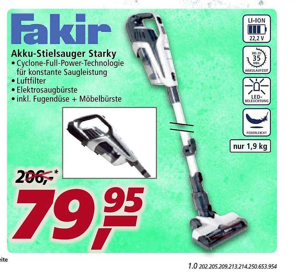 Real Fakir Akku-stielsauger Starky