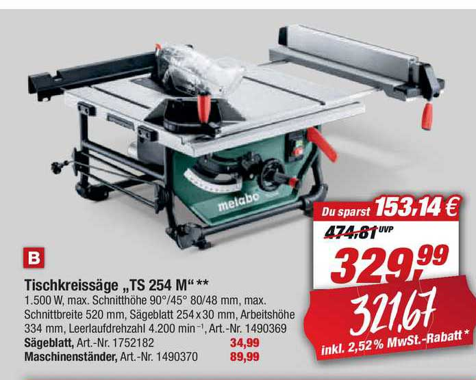 "Toom Baumarkt Tischkreissäge ""ts 254 M"""