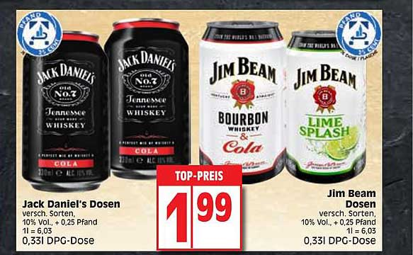 EDEKA Jack Daniel's Dosen, Jim Beam Dosen