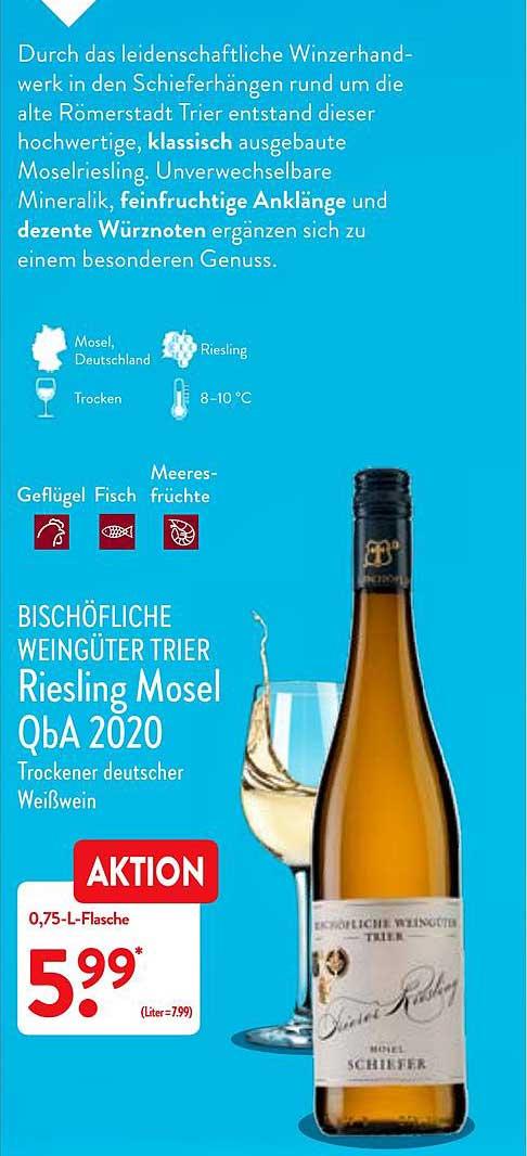 ALDI Nord Bischöfliche Weingüter Trier Riesling Mosel Qba 2020