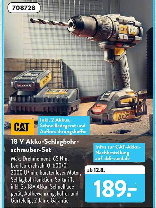 ALDI SÜD CAT 18V Akki-Schlagbohrschrauber-Set
