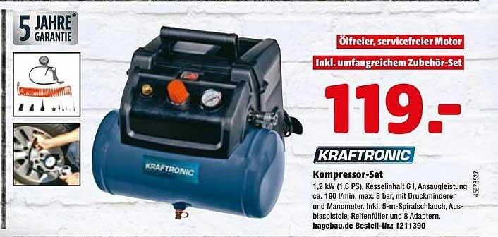 Hagebaumarkt Kraftronic Kompressor Set