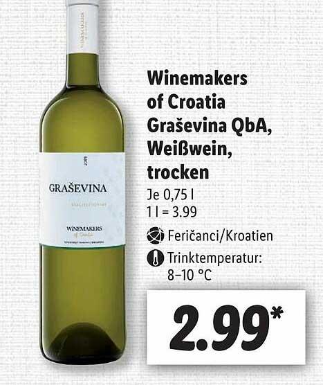 Lidl Winemakers Of Croatia Grasevina Qba, Weißwein, Trocken
