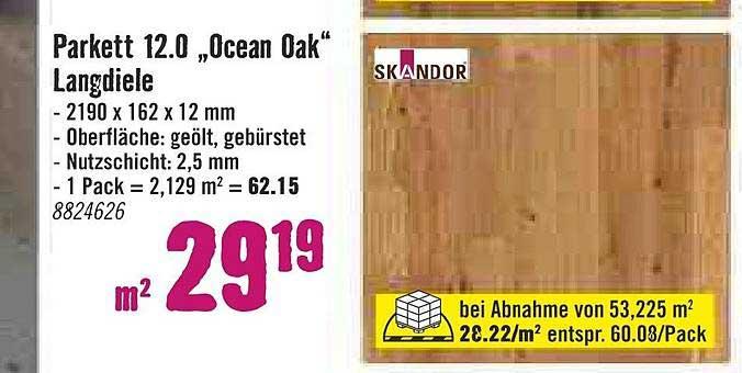 "Hornbach Parkett 12.0 ""ocean Oak"" Langdiele"