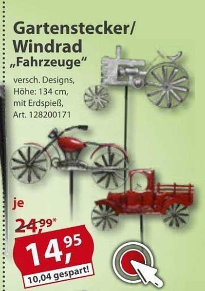 """Sonderpreis Baumarkt Gartenstecker Windrad """"fahrzeuge"""""""
