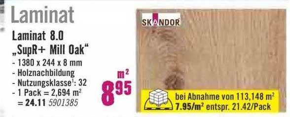 """Hornbach Skandor Laminat 8.0 """"supr+ Mill Oak"""""""