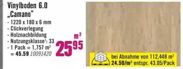 """Hornbach Vinylboden 6.0 """"camano"""""""