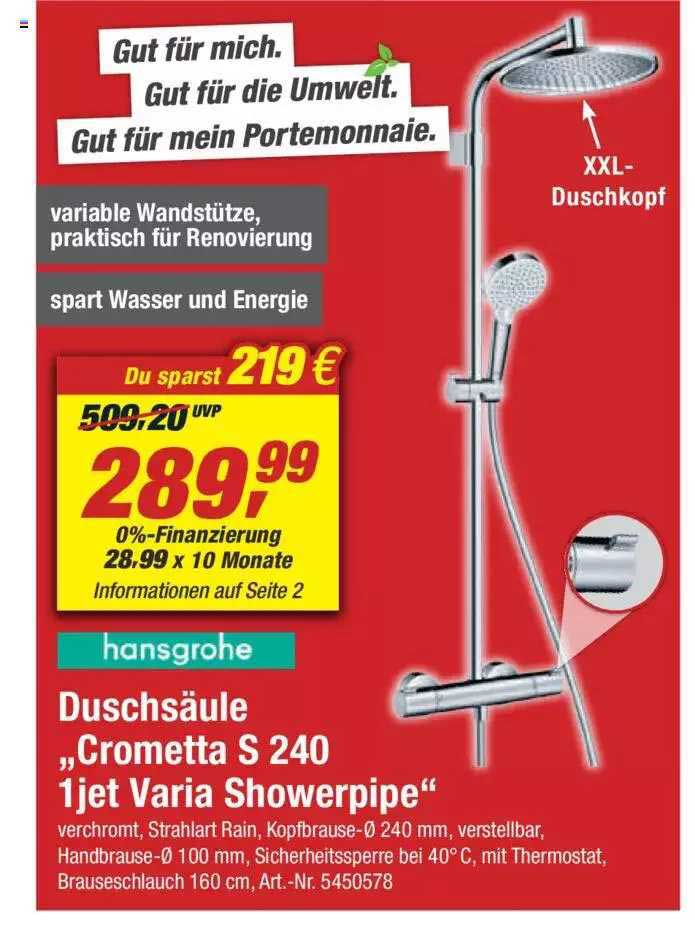 "Toom Baumarkt Duschsäule""crometta S 240 1 Jet Varia Showerpipe"""