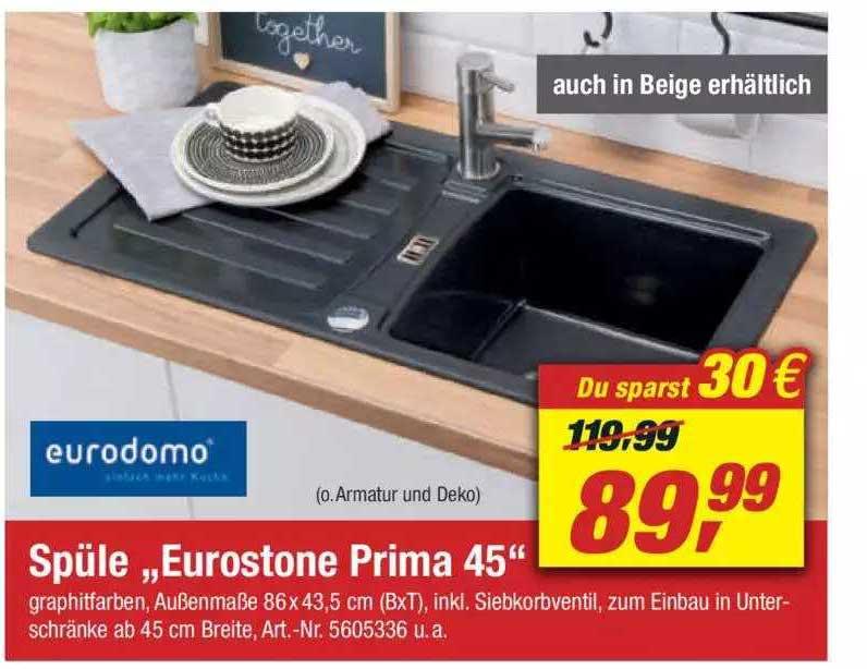 "Toom Baumarkt Eurodomo Spüle ""eurostone Prima 45"""